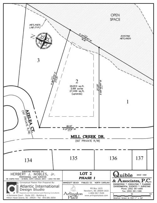 Arlington Place homesite 2 plat map.
