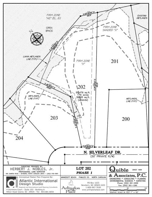 Arlington Place homesite 202 plat map.