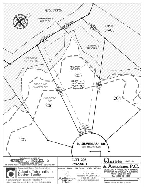 Arlington Place homesite 205 plat map.
