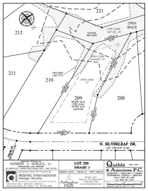 Arlington Place homesite 209 plat map.