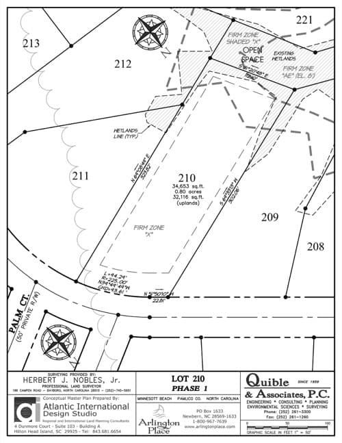 Arlington Place homesite 210 plat map.