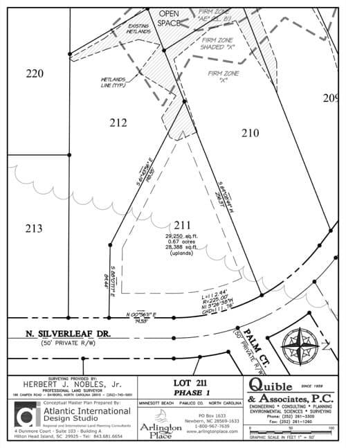 Arlington Place homesite 211 plat map.