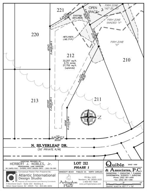 Arlington Place homesite 212 plat map.