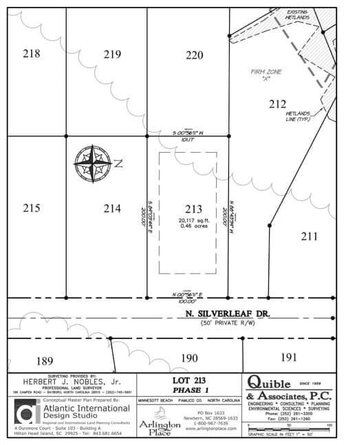 Arlington Place homesite 213 plat map.