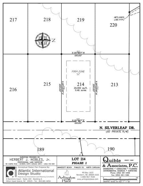 Arlington Place homesite 214 plat map.