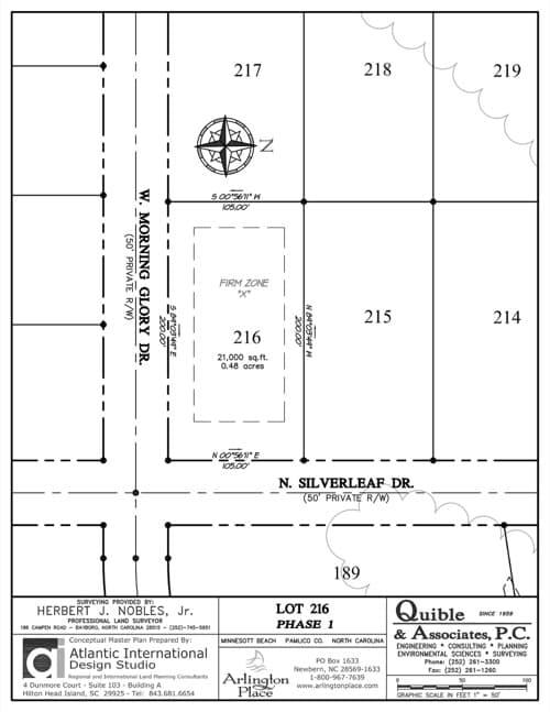 Arlington Place homesite 216 plat map.