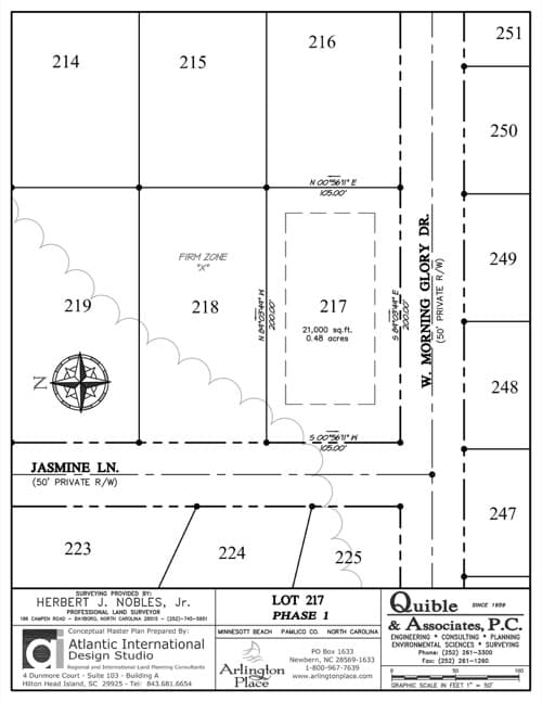 Arlington Place homesite 217 plat map.