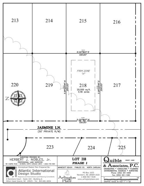 Arlington Place homesite 218 plat map.