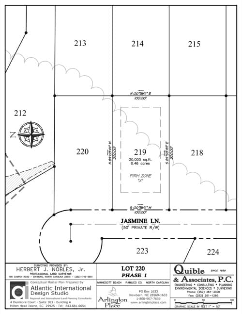 Arlington Place homesite 220 plat map.