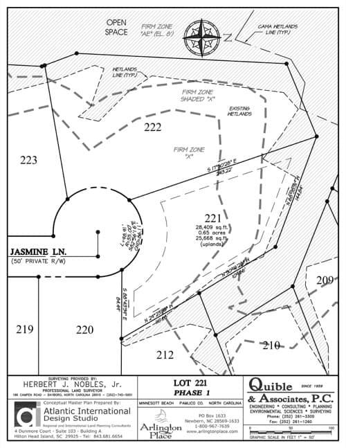Arlington Place homesite 221 plat map.