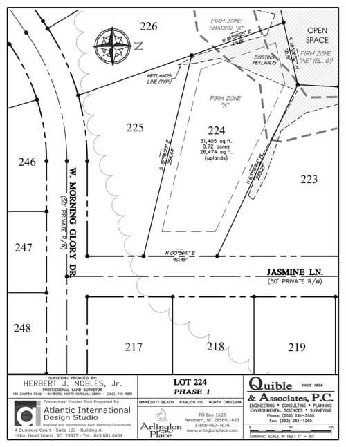 Arlington Place homesite 224 plat map.