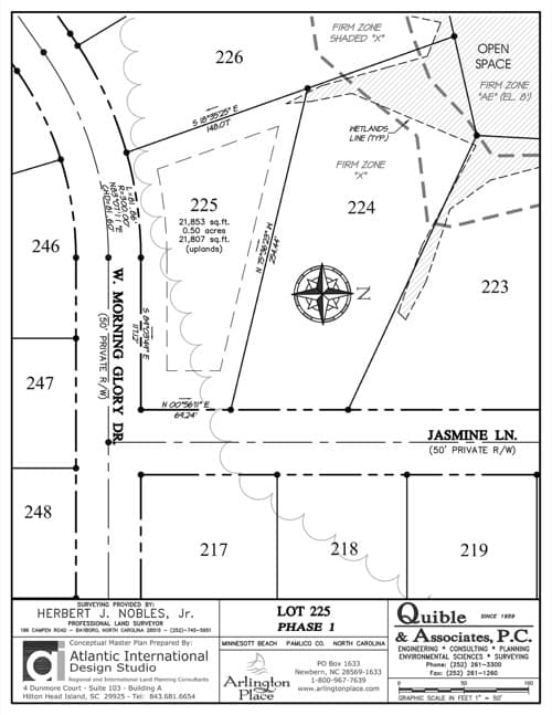 Arlington Place homesite 225 plat map.
