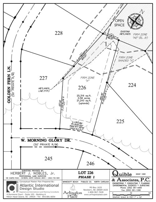 Arlington Place homesite 226 plat map.