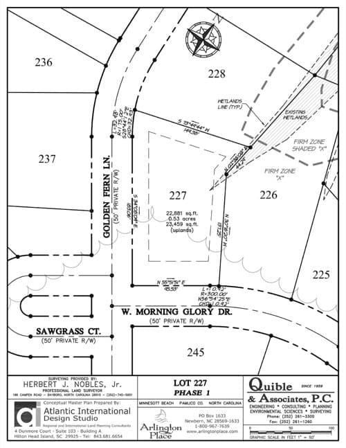 Arlington Place homesite 227 plat map.