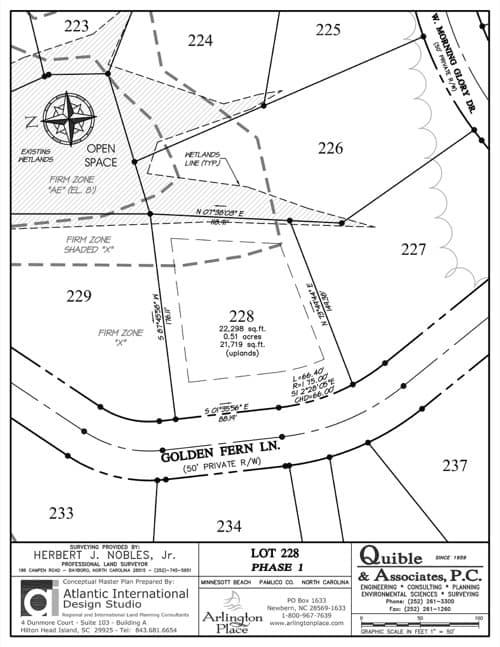 Arlington Place homesite 228 plat map.