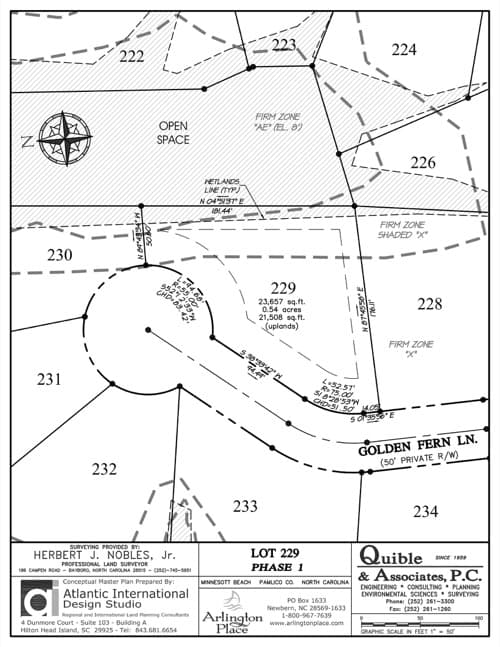 Arlington Place homesite 229 plat map.