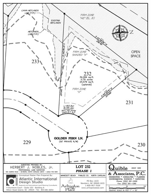 Arlington Place homesite 232 plat map.
