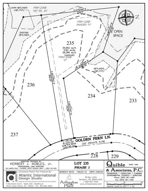 Arlington Place homesite 235 plat map.