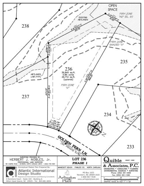 Arlington Place homesite 236 plat map.
