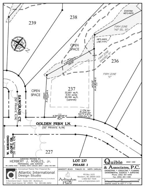 Arlington Place homesite 237 plat map.