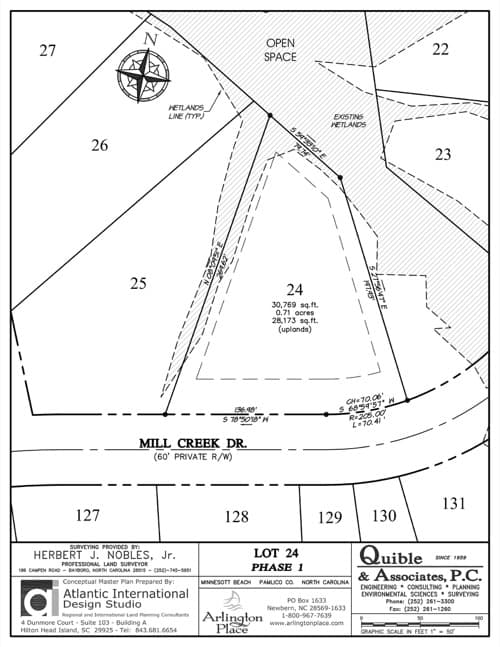 Arlington Place homesite 24 plat map.