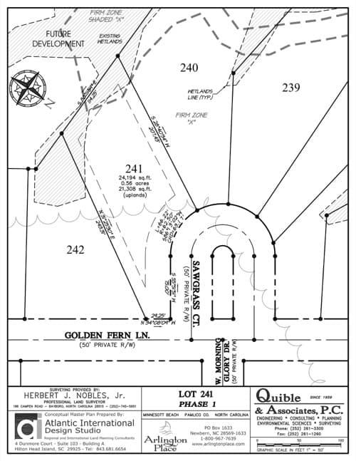 Arlington Place homesite 241 plat map.