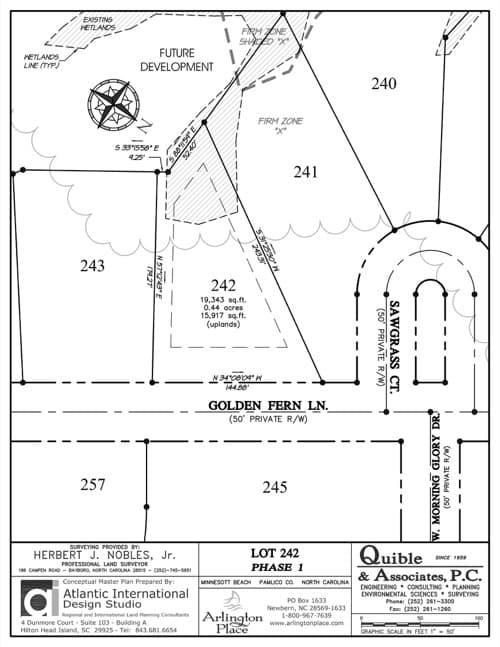 Arlington Place homesite 242 plat map.