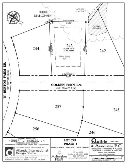 Arlington Place homesite 243 plat map.