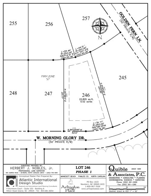 Arlington Place homesite 246 plat map.