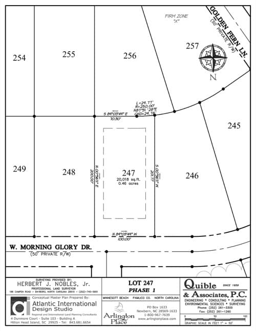 Arlington Place homesite 247 plat map.