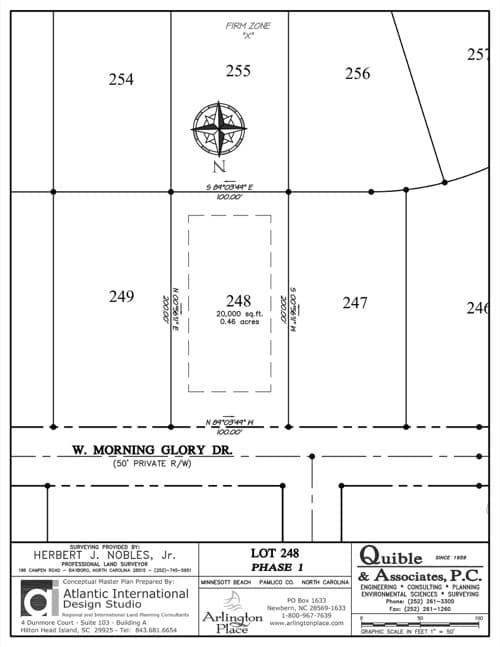 Arlington Place homesite 248 plat map.