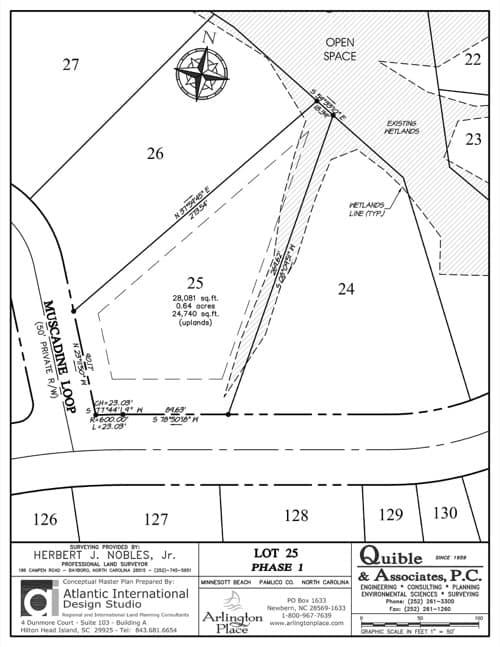 Arlington Place homesite 25 plat map.