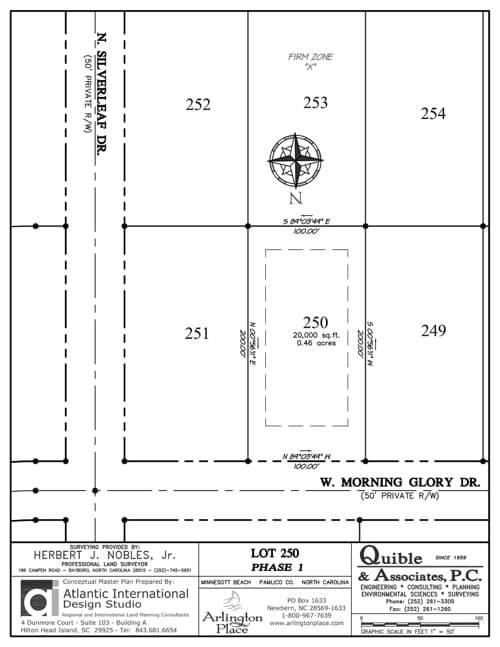 Arlington Place homesite 250 plat map.