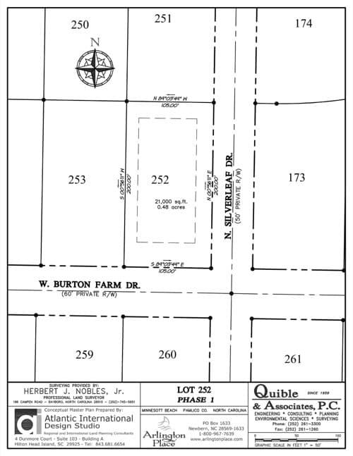 Arlington Place homesite 252 plat map.