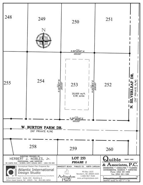 Arlington Place homesite 253 plat map.