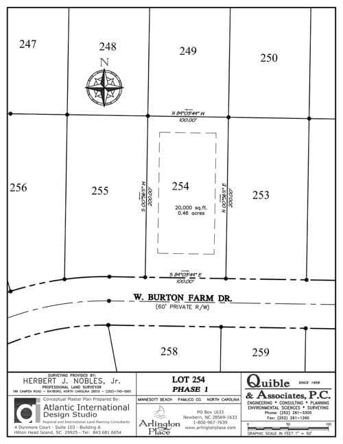 Arlington Place homesite 254 plat map.