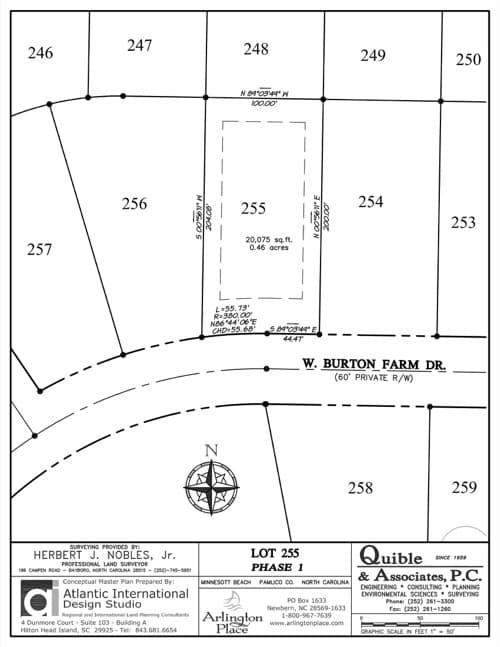 Arlington Place homesite 255 plat map.