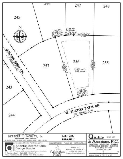 Arlington Place homesite 256 plat map.