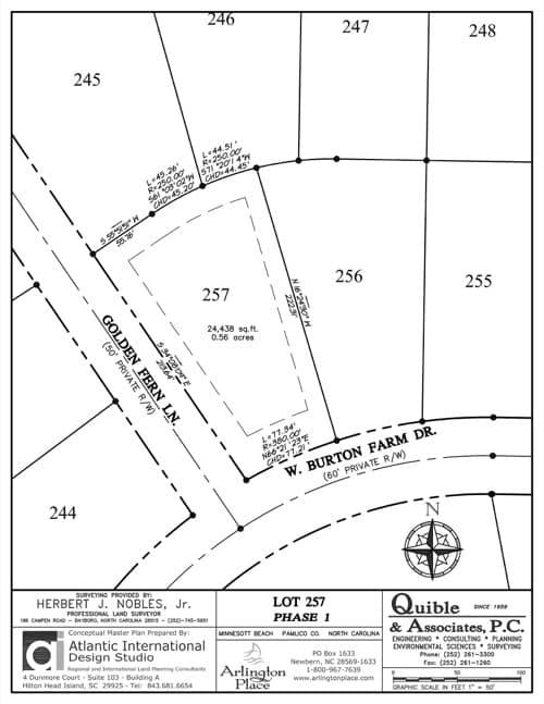 Arlington Place homesite 257 plat map.