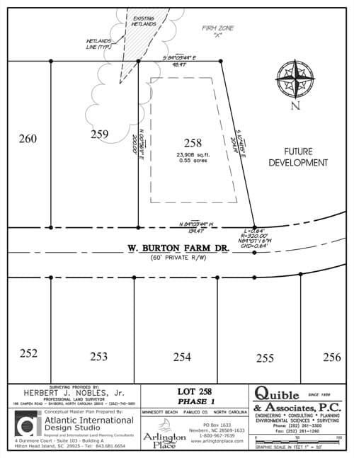 Arlington Place homesite 258 plat map.