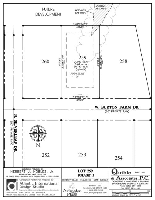 Arlington Place homesite 259 plat map.
