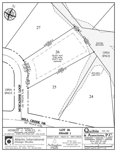 Arlington Place homesite 26 plat map.