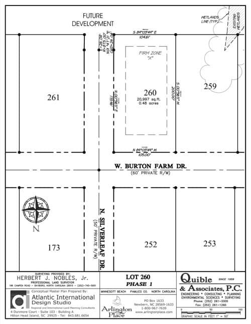 Arlington Place homesite 260 plat map.