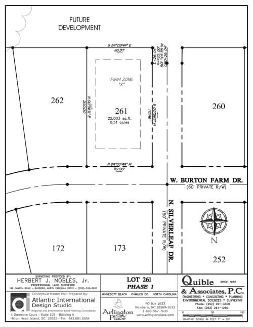 Arlington Place homesite 261 plat map.