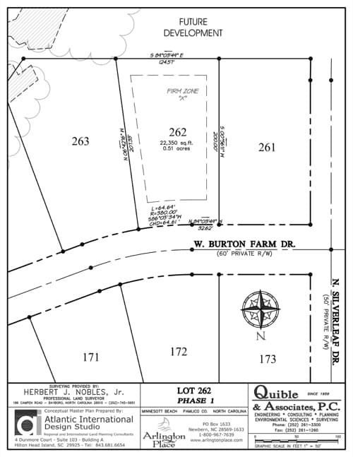 Arlington Place homesite 262 plat map.