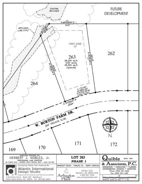 Arlington Place homesite 263 plat map.