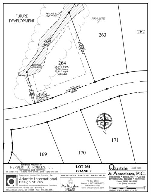 Arlington Place homesite 264 plat map.