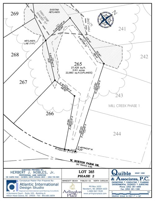 Arlington Place homesite 265 plat map.