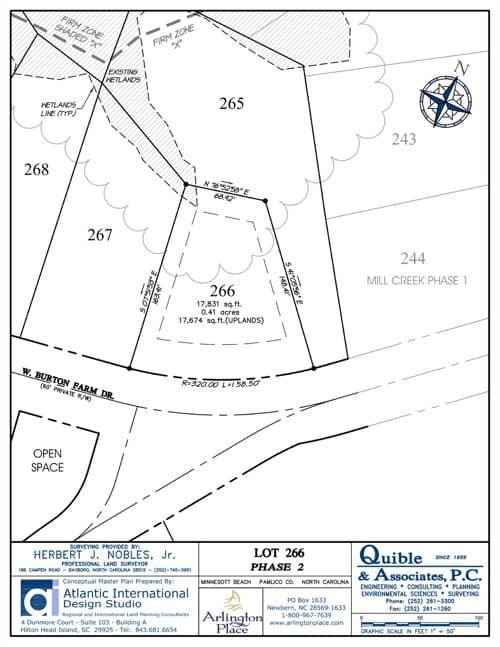 Arlington Place homesite 266 plat map.