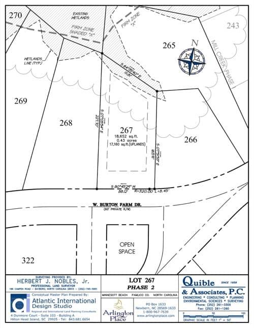 Arlington Place homesite 267 plat map.